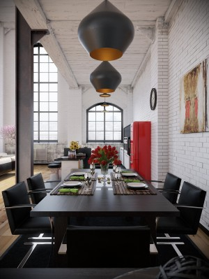 RIP3D-Industrial-Loft-black-dining-seting-with-opaque-pendant-lighting