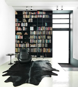 Uber-stylish-blacka-nd-white-living-room-with-a-giant-bookshelf-that-defines-the-space