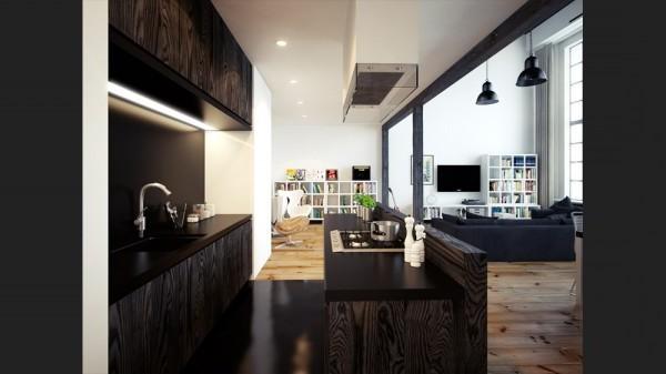 Оформление кухни в лофт квартире