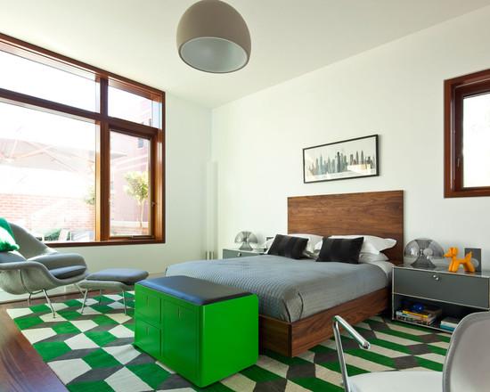 Зелёная спальня в стили модерн