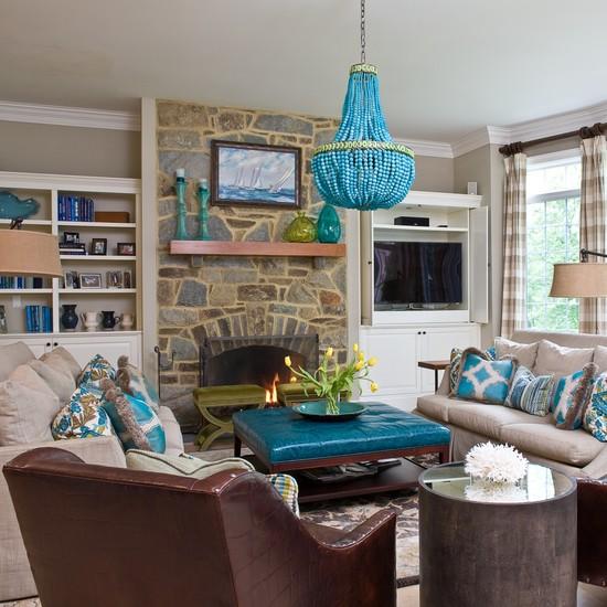 Декор гостиной бирюзового цвета