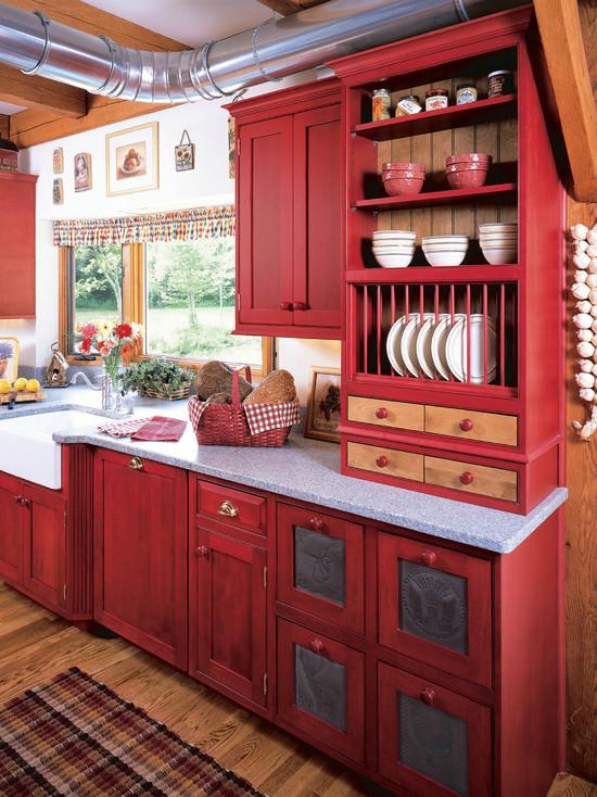 Деревенский стиль красной кухни