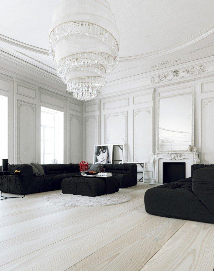 Огромная люстра и черная мебель  на белом фоне