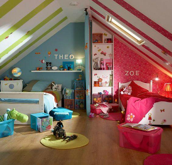 Цветовое разделение зон в детской комнате