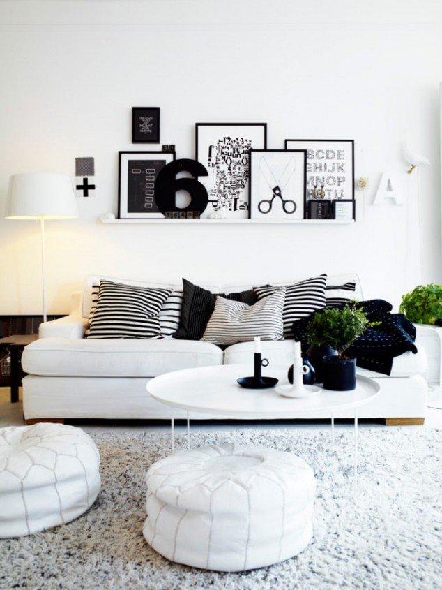 Зона для отдыха в черно-белом стиле
