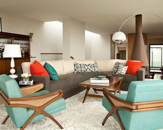 Кресла бирюзового цвета в интерьере гостиной