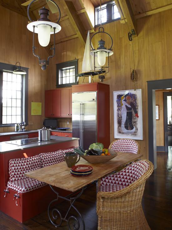 Красная кухня в стиле минимализм