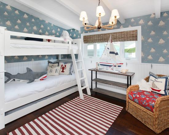Интерьер детской комнаты для двоих детей в морском стиле