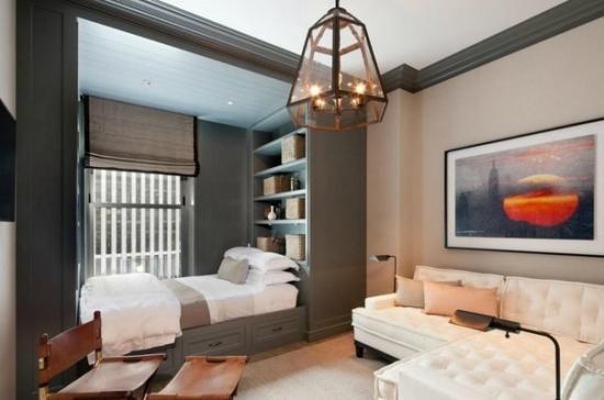 Мебель как разделитель пространства спальни и гостиной