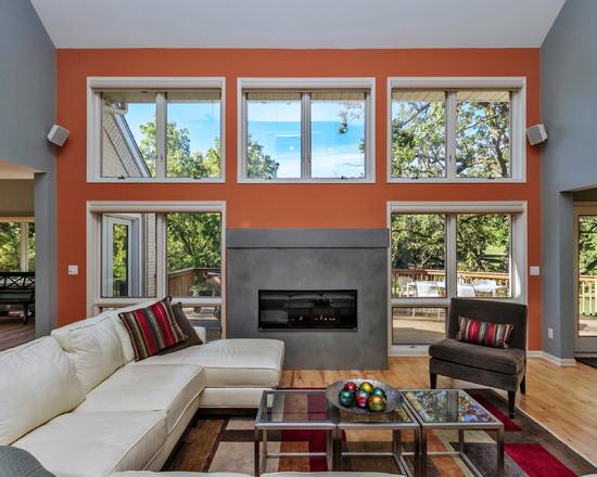 Интерьер гостиной в серо-оранжевых тонах
