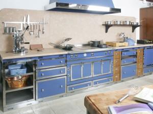 Elegant Blue Interior Design Ideas Blue Kitchen Cabinets Grey Floor Cream Backsplah