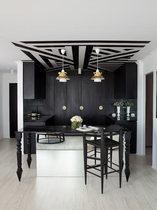 интерьер черно-серой комнаты