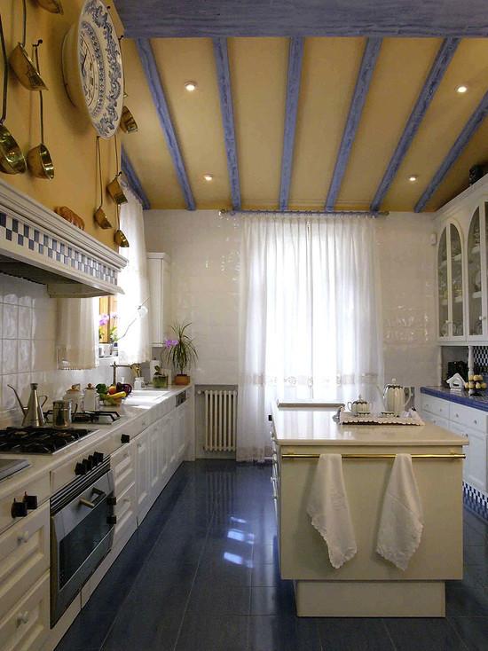 Сочетание синих и желтых цветов на кухне