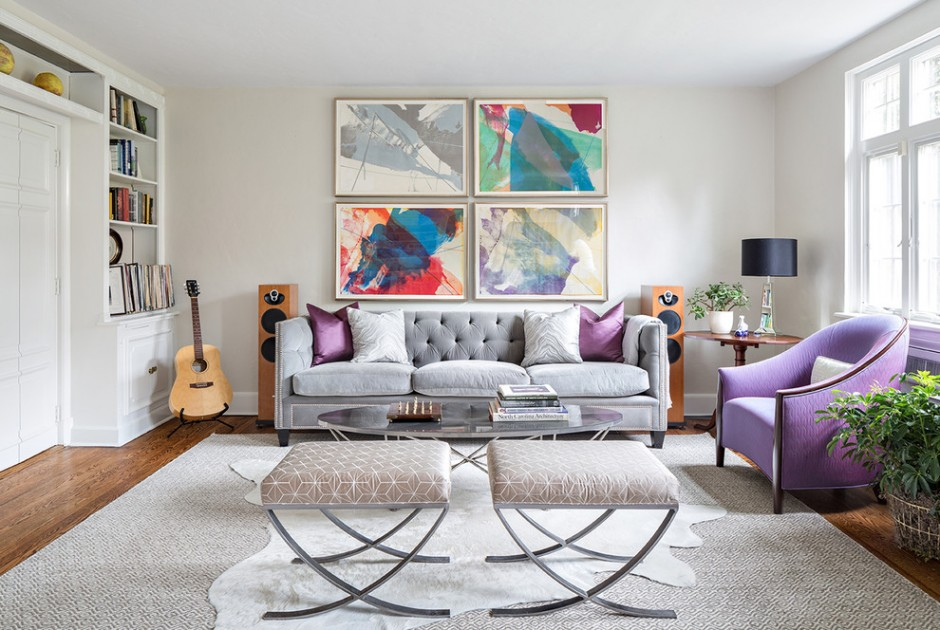 Серо-фиолетовая гостиная в модерн стиле