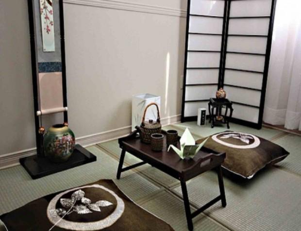 гостиная в японском стиле в в коричневых тонах