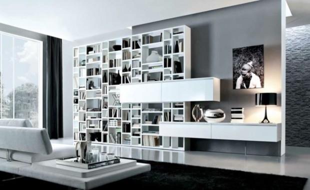 контраст в интерьере гостиной в японском стиле: темное напольное покрытие и светлая мебель
