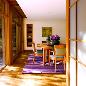Fabulous-dining-room-covered-in-wooden-surfaces-gets-a-fresh-makeover-with-purple-accents