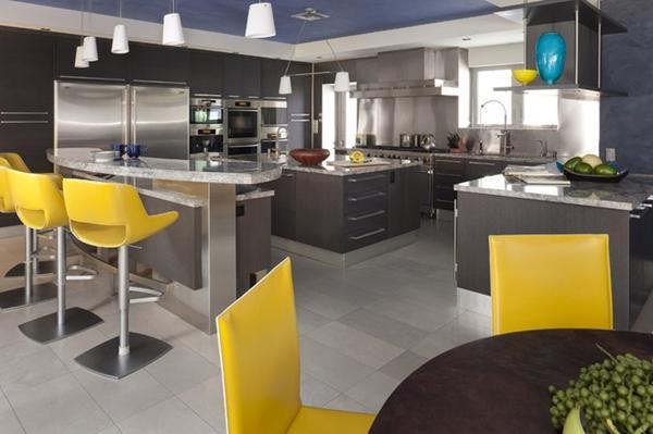 желтые стулья в кухне серого цвета