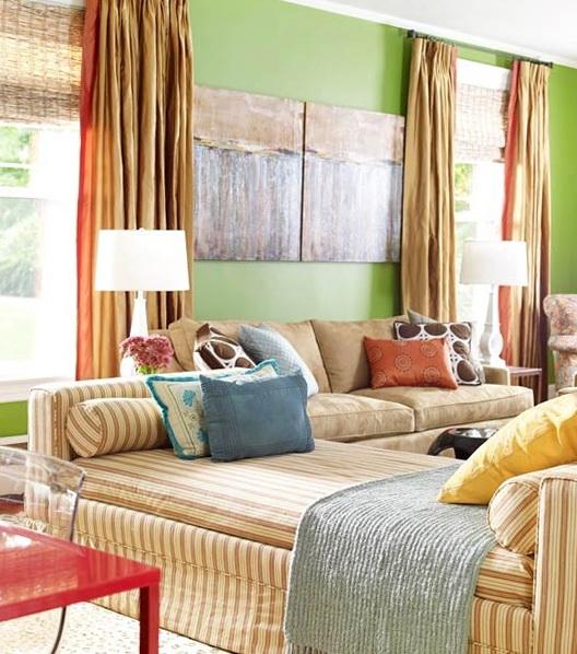 Оливковоя комната в деревенском стиле