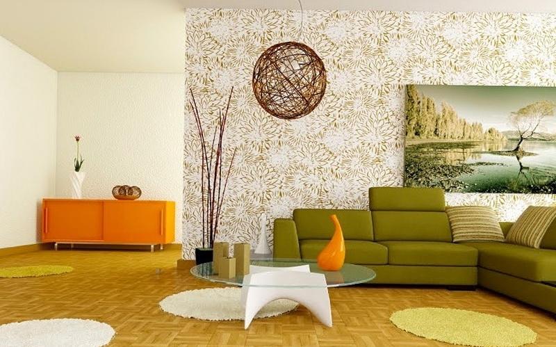 Гармоничное сочетание оливковой и оранжевой мебели