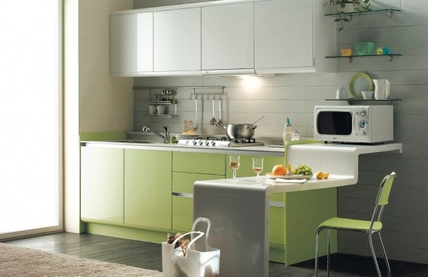 pretentious-decoration-for-luxurious-grey-kitchen-design-with-green-cabinets