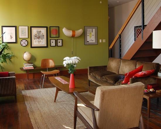Темно оливковый цвет в оформлении гостиной