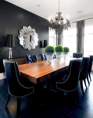 Black-Walls-dining-room-3-big-moss-balls-on-table-freshome