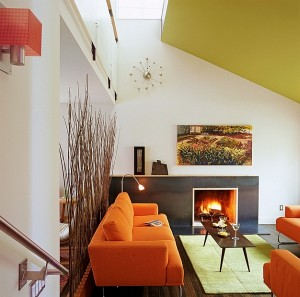 Retro-design-combined-with-bold-ceiling-color
