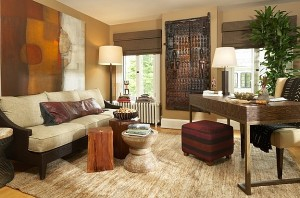 Rustic-stools-and-wall-art-usher-in-teh-African-style-here