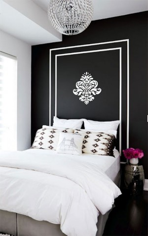 blackwall-bedroom-with-gold-stencil-and-headboard-impressive-interior-design