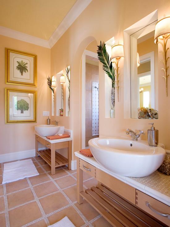 Дизайн ванной в персиковых тонах