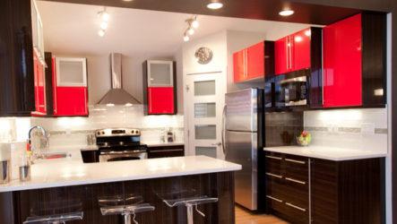Молодежная кухня в красно-черных тонах