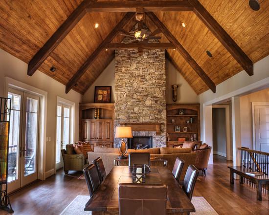 Деревянные балки в интерьере деревянного дома фото