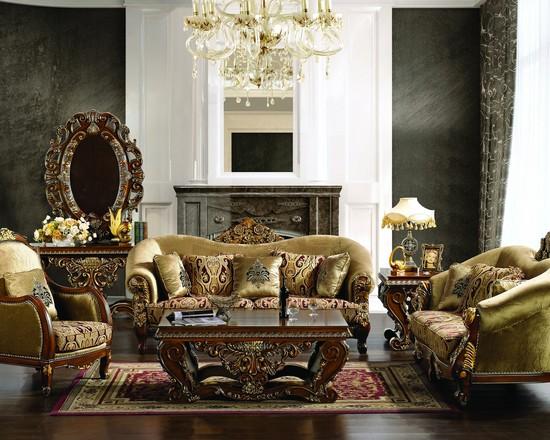 оливковая мебель с резными ножками смотрится уместно в классическом интерьере