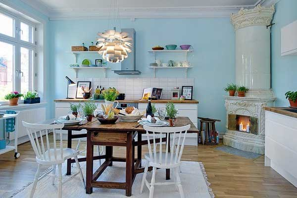 Уютная кухня голубого цвета - 50 фото примеров