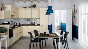 Lovely-use-of-cream-and-bright-blue-in-the-kitchen-and-dining-room - копия