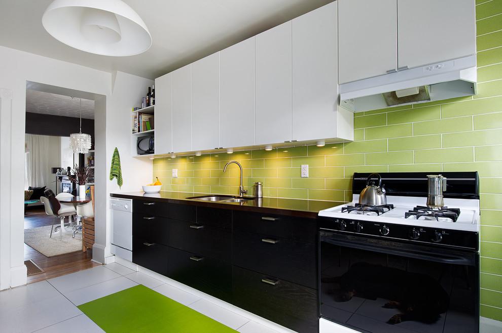 Дизайн кухни в черно белых тонах
