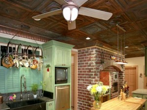 country-kitchen-with-copper-ceiling-tiles