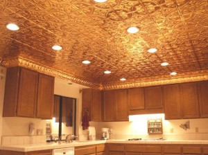 kitchen-ceiling-with-polished-copper-ceiling-tiles