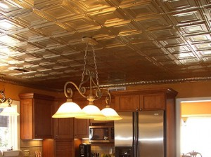 kitchen-with-metal-ceiling-tiles