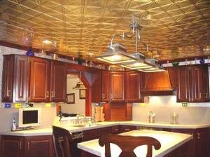 wood-kitchen-with-metal-ceiling-tiles