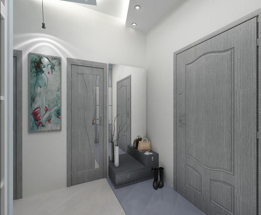 Серый пол в интерьере прихожей фото
