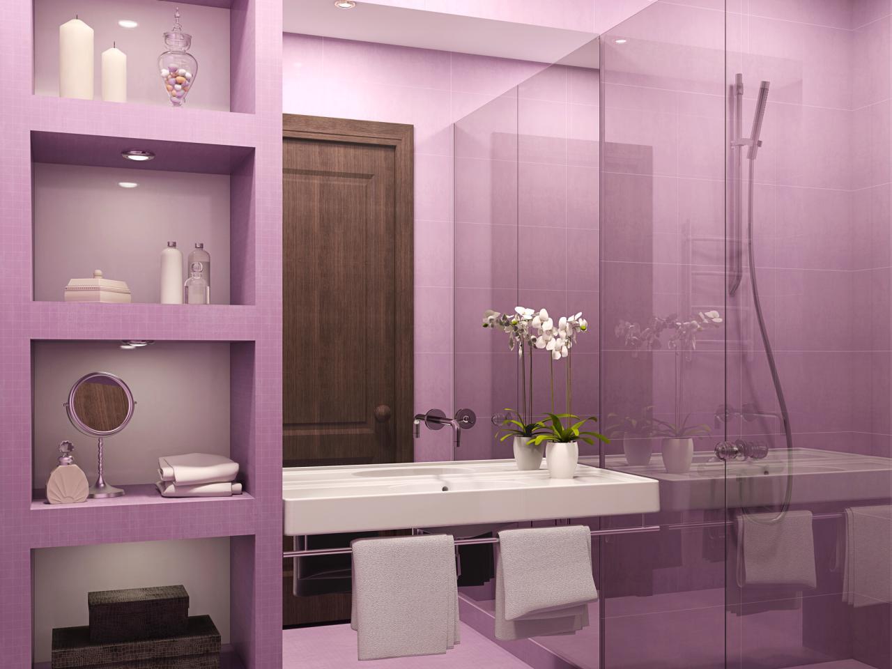 Фиолетовая ванной комнаты дизайн