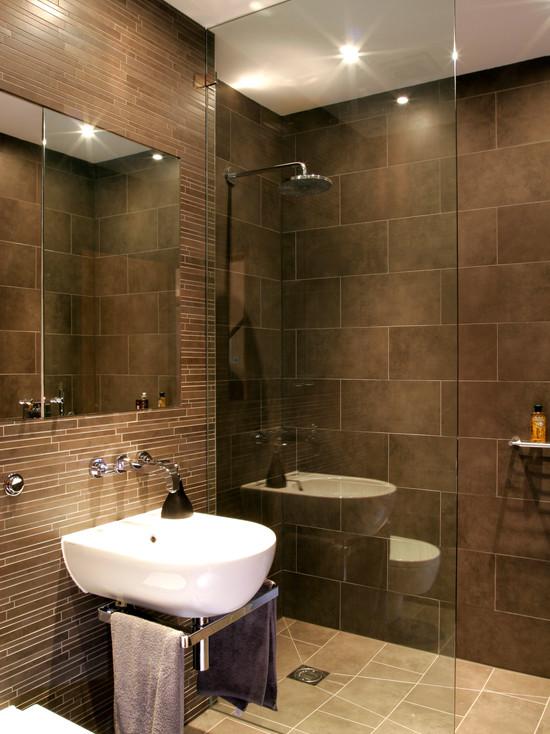 коричневая ванная комната