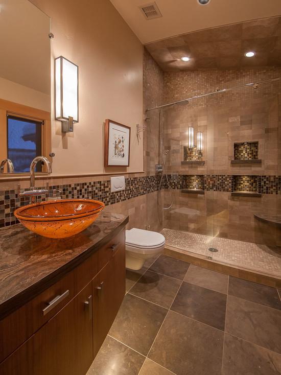 Коричневая ванная комната: атмосфера уюта - 40 фото примеров