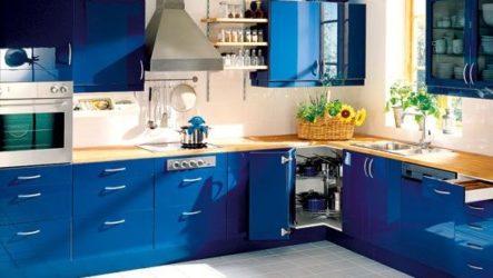 Стильная кухня синего цвета