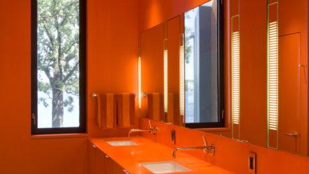 Оранжевый рай в интерьере ванной