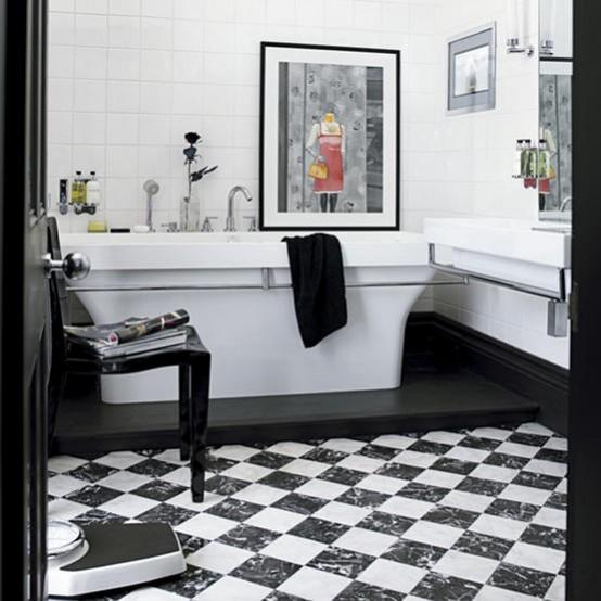 черно белая ванна