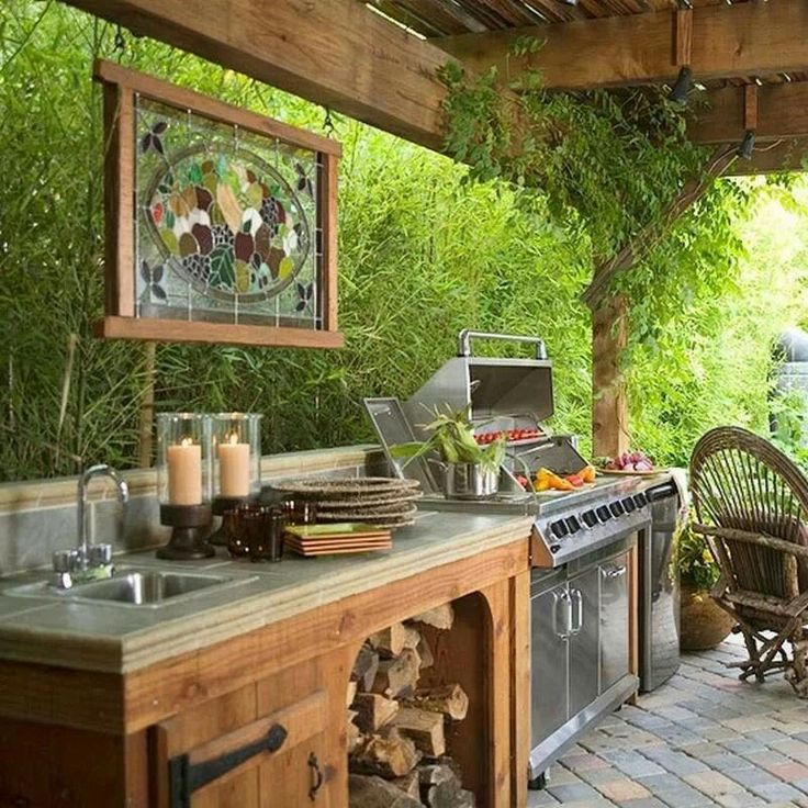 Летняя кухня в саду