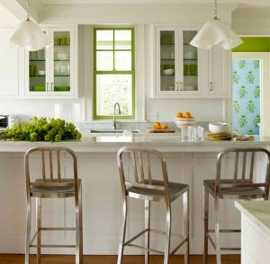 Dishware-painted-window-frame-and-fresh-veggies-add-green-to-the-kitchen-subtly